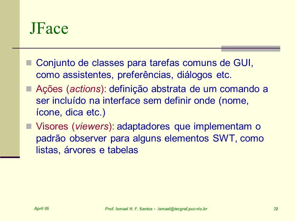 JFace Conjunto de classes para tarefas comuns de GUI, como assistentes, preferências, diálogos etc.