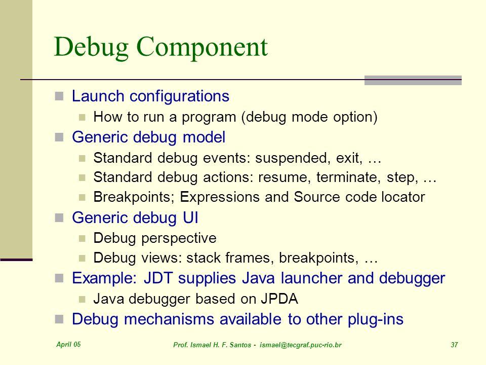 Debug Component Launch configurations Generic debug model