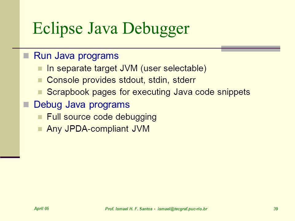 Eclipse Java Debugger Run Java programs Debug Java programs