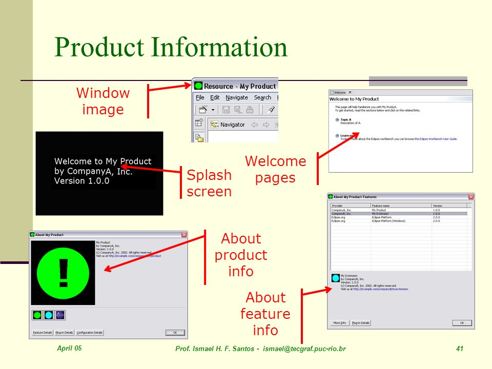 Product Information Window image Welcome pages Splash screen About