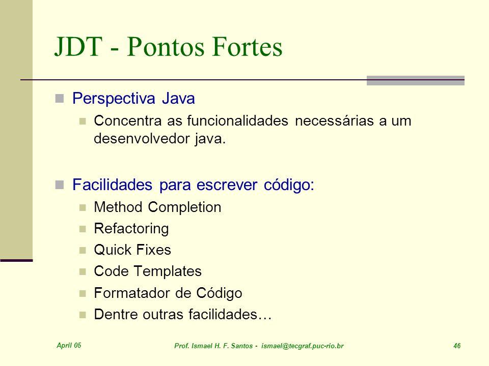 JDT - Pontos Fortes Perspectiva Java Facilidades para escrever código:
