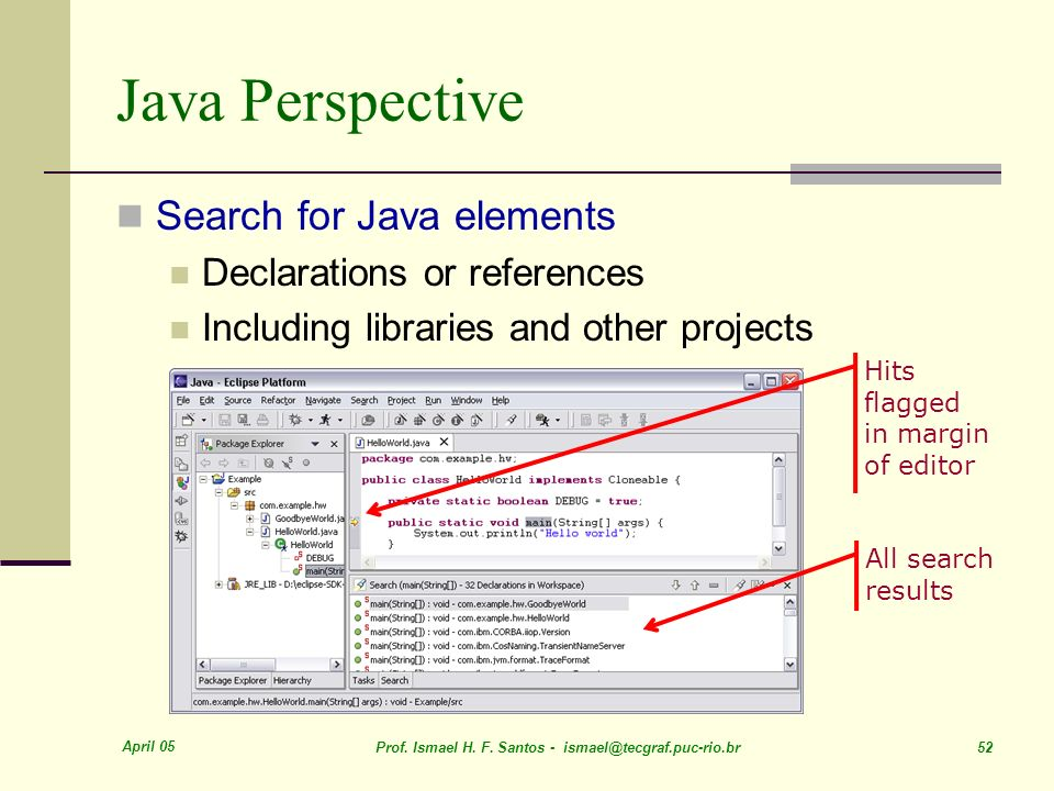 Java Perspective Search for Java elements Declarations or references