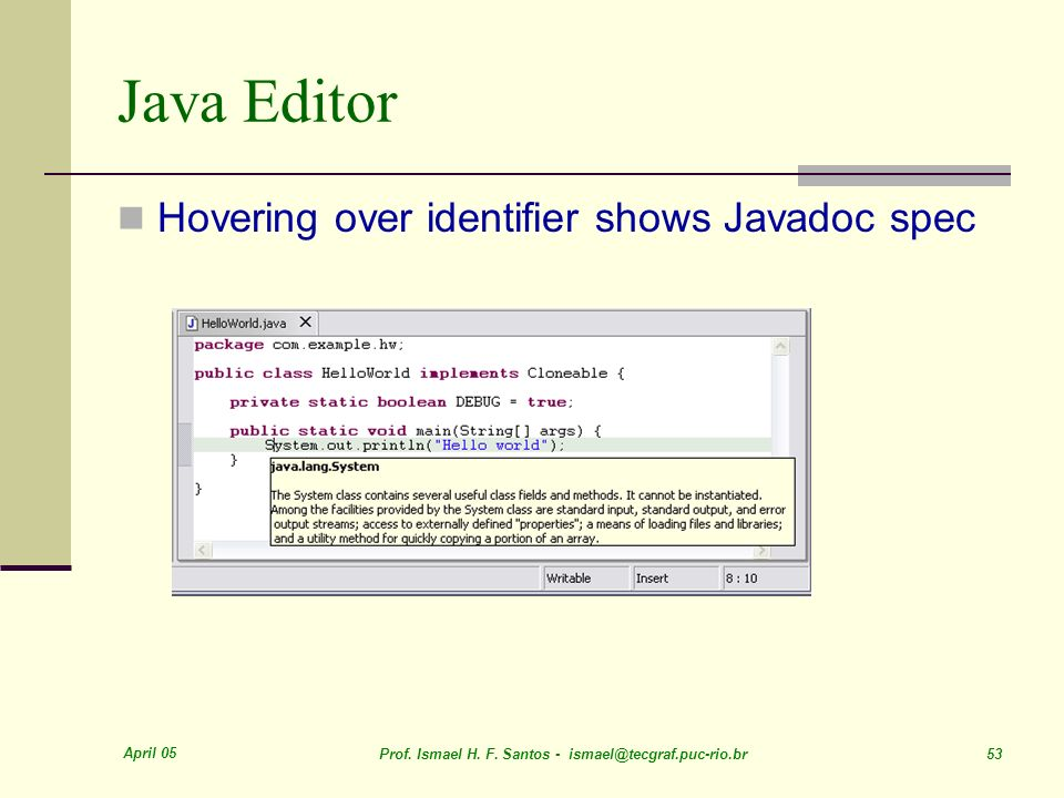 Java Editor Hovering over identifier shows Javadoc spec