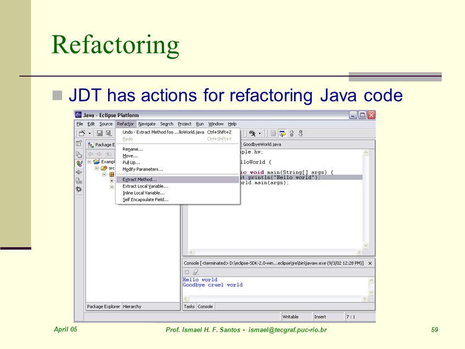 Refactoring JDT has actions for refactoring Java code April 05
