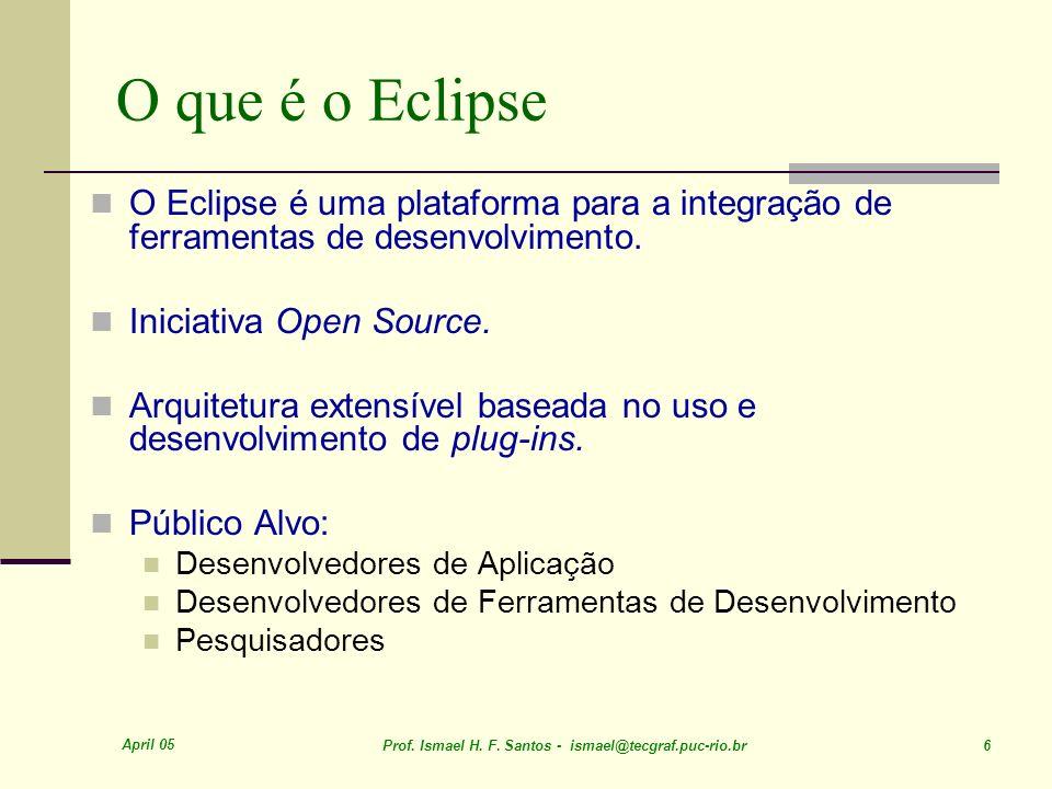 O que é o Eclipse O Eclipse é uma plataforma para a integração de ferramentas de desenvolvimento. Iniciativa Open Source.