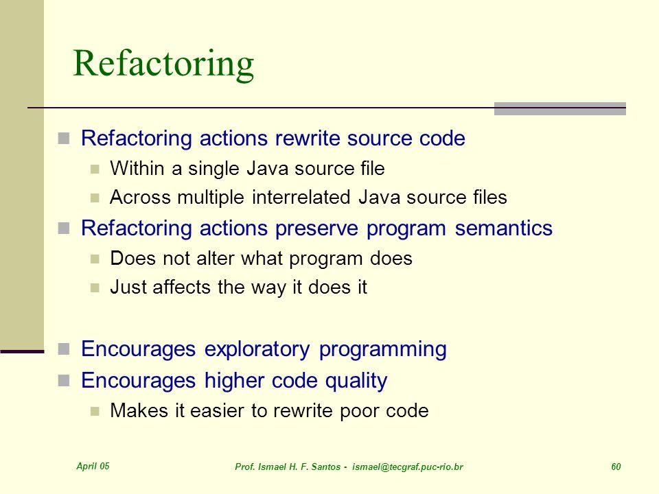 Refactoring Refactoring actions rewrite source code