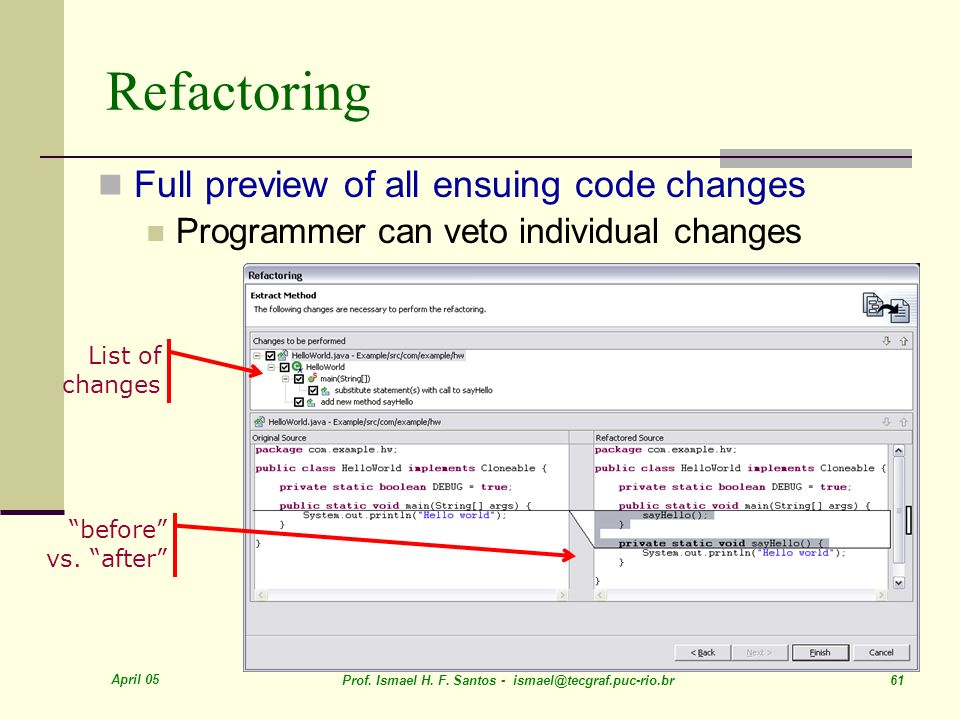 Refactoring Full preview of all ensuing code changes