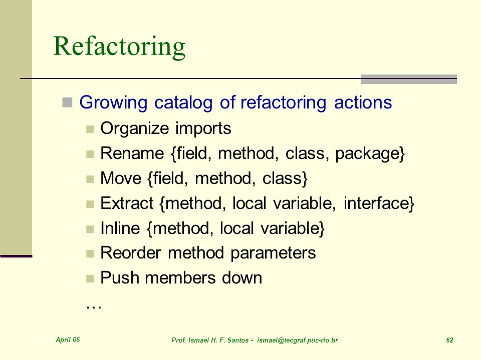 Refactoring Growing catalog of refactoring actions Organize imports