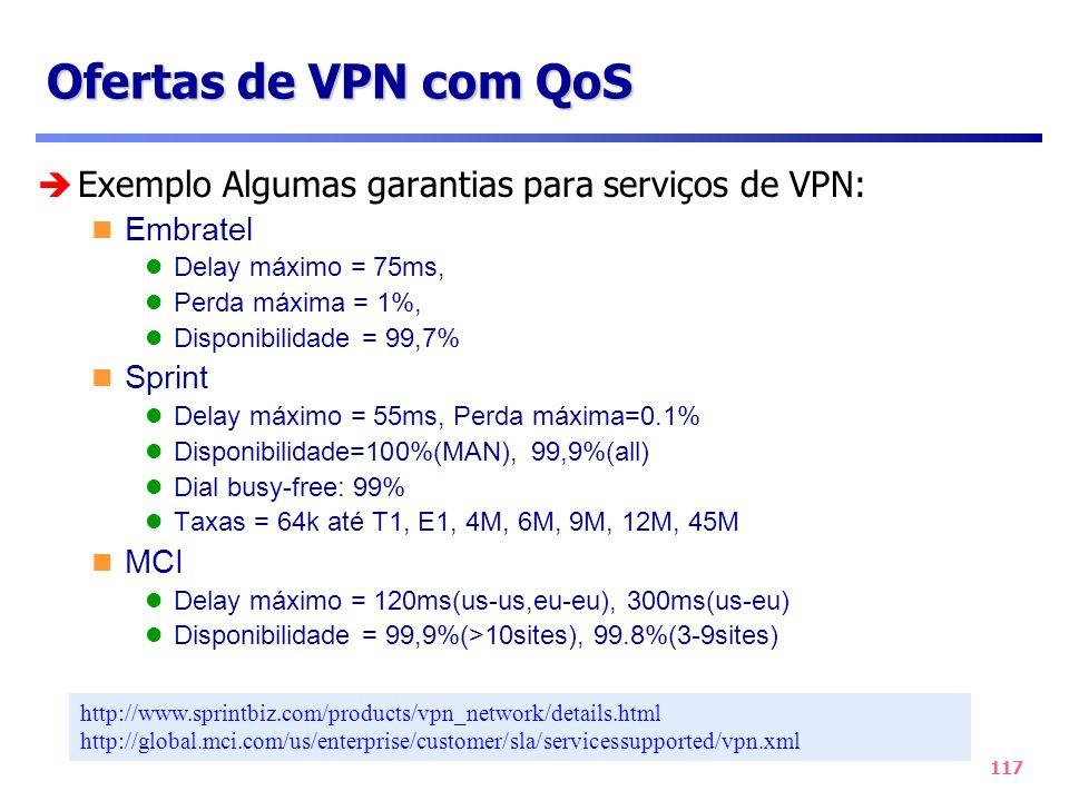 Ofertas de VPN com QoS Exemplo Algumas garantias para serviços de VPN: