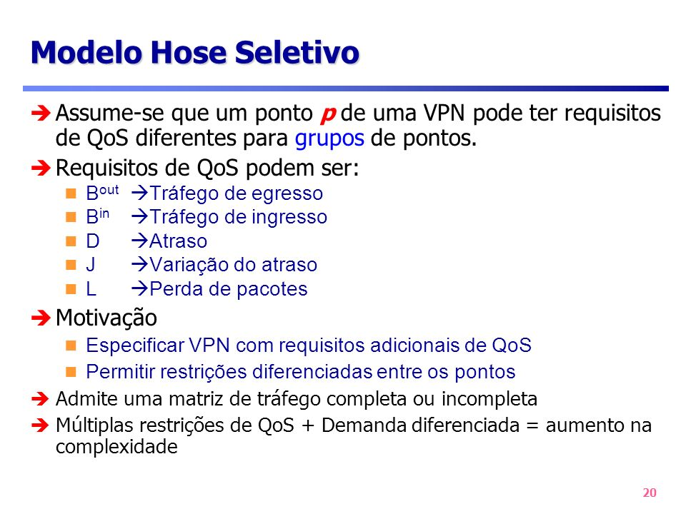 Modelo Hose Seletivo Assume-se que um ponto p de uma VPN pode ter requisitos de QoS diferentes para grupos de pontos.