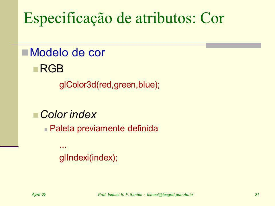 Especificação de atributos: Cor