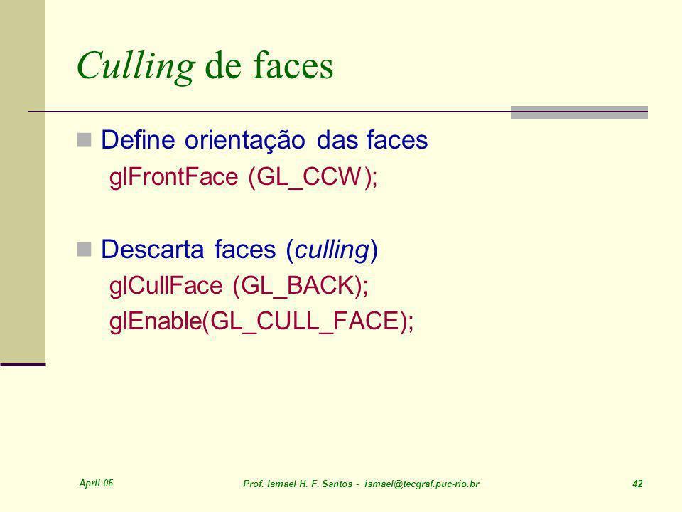 Culling de faces Define orientação das faces Descarta faces (culling)