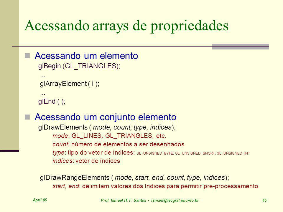 Acessando arrays de propriedades