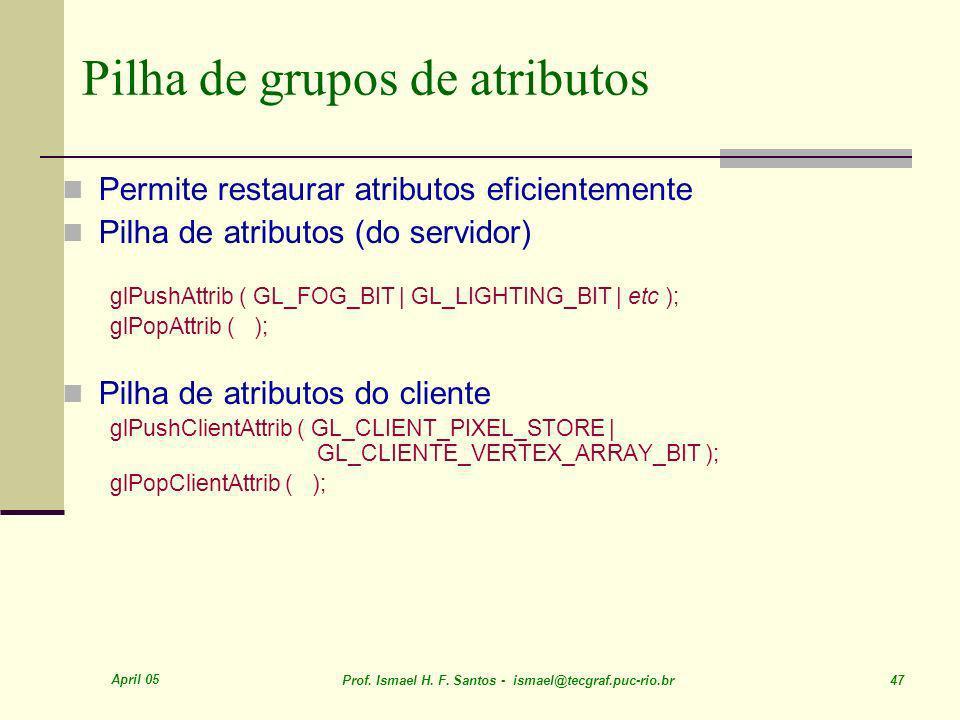 Pilha de grupos de atributos