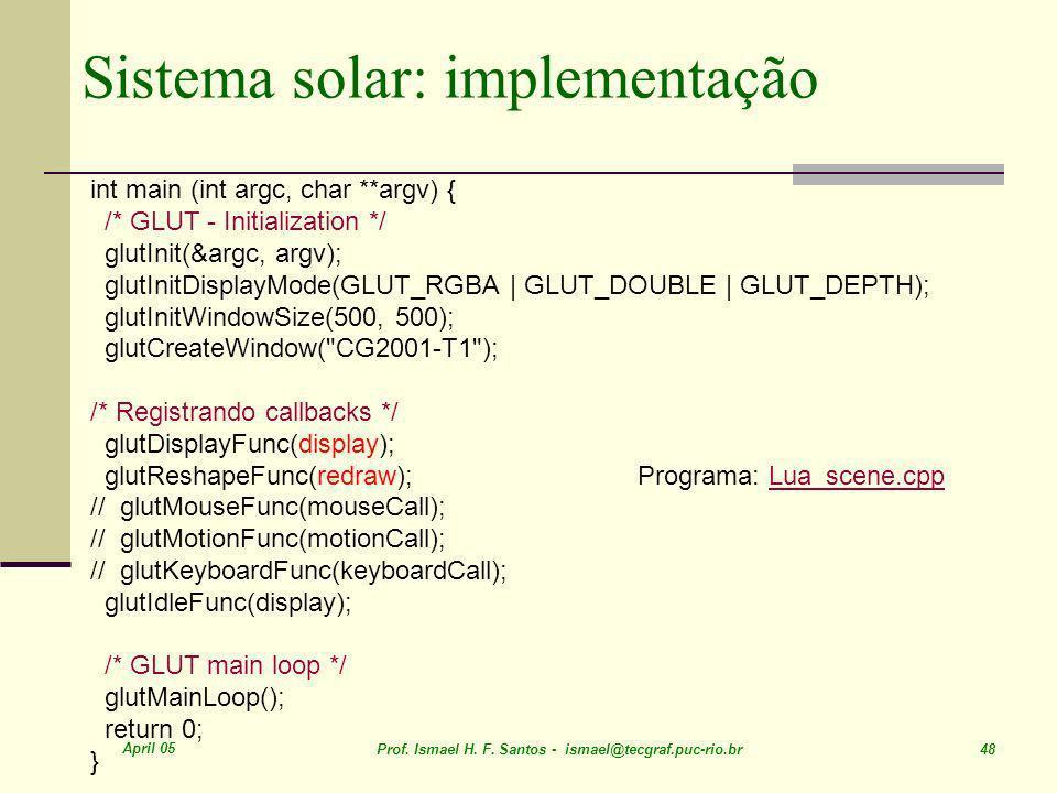 Sistema solar: implementação