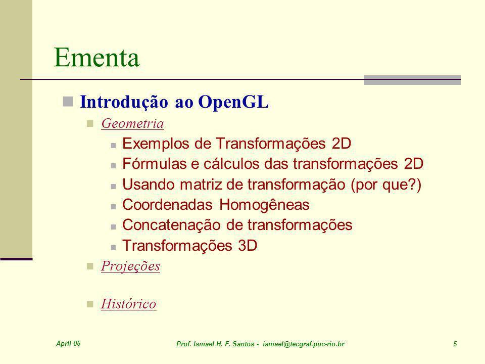 Ementa Introdução ao OpenGL Exemplos de Transformações 2D