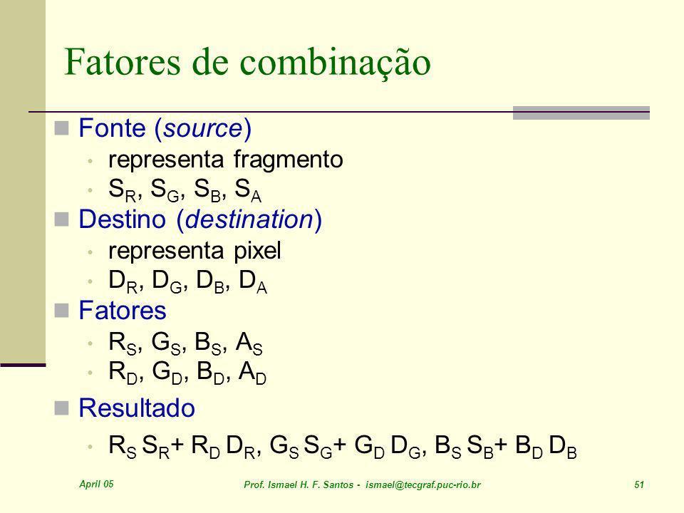 Fatores de combinação Fonte (source) Destino (destination) Fatores