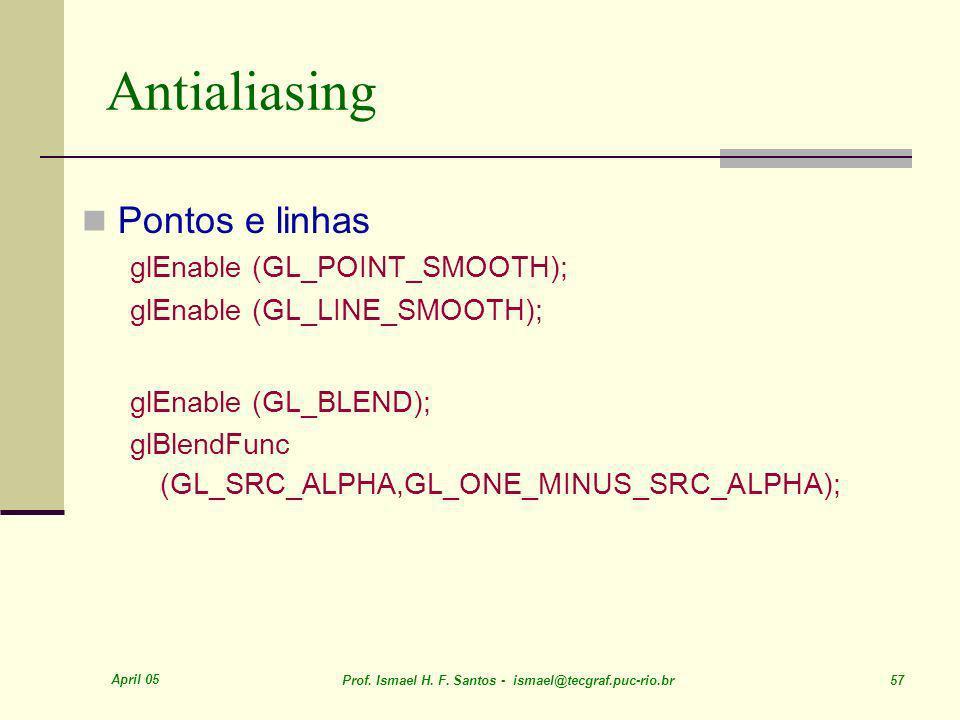 Antialiasing Pontos e linhas glEnable (GL_POINT_SMOOTH);