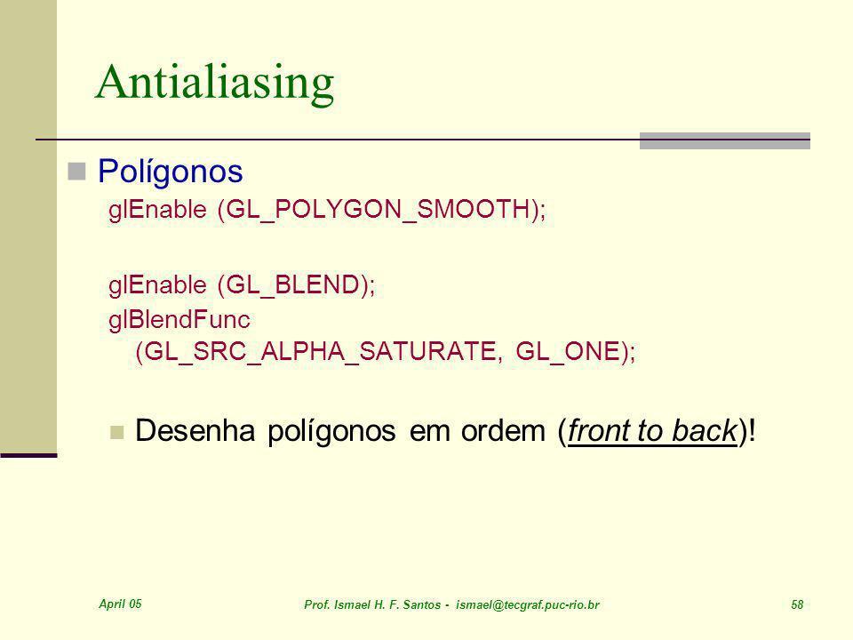 Antialiasing Polígonos Desenha polígonos em ordem (front to back)!