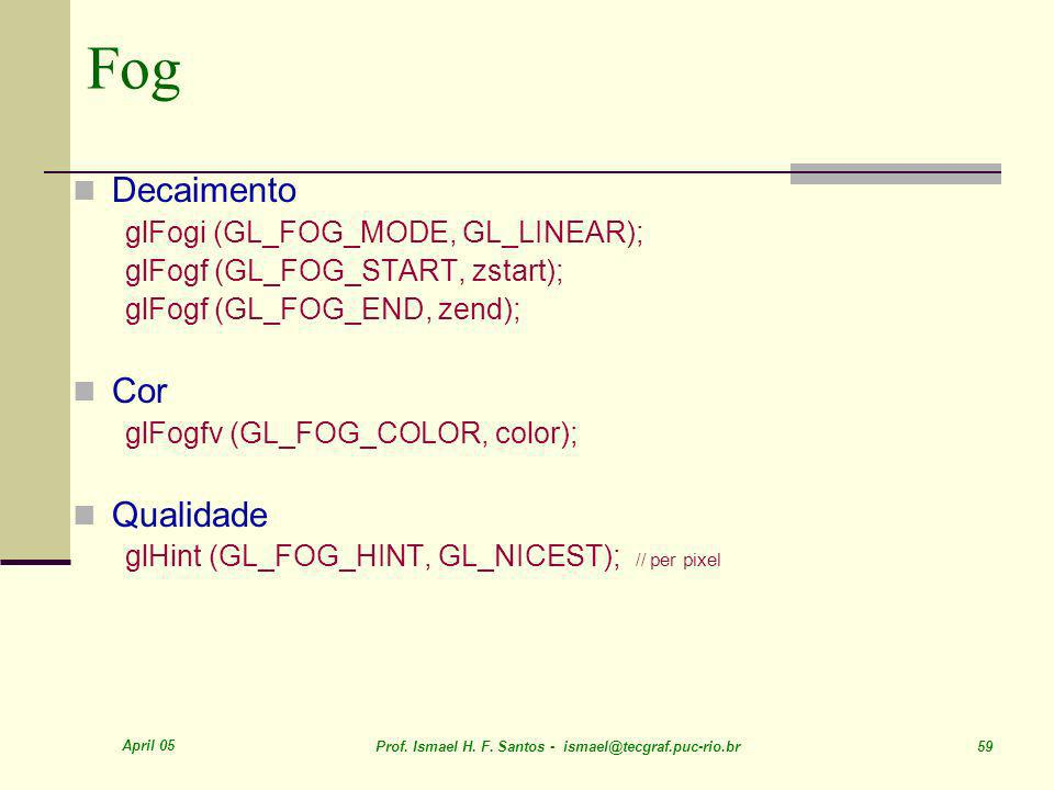 Fog Decaimento Cor Qualidade glFogi (GL_FOG_MODE, GL_LINEAR);