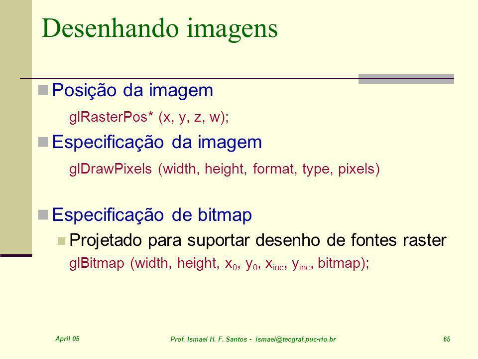 Desenhando imagens Posição da imagem Especificação da imagem