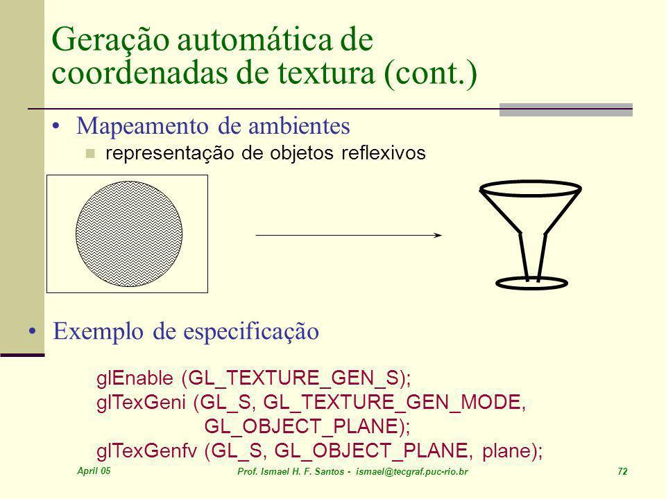 Geração automática de coordenadas de textura (cont.)