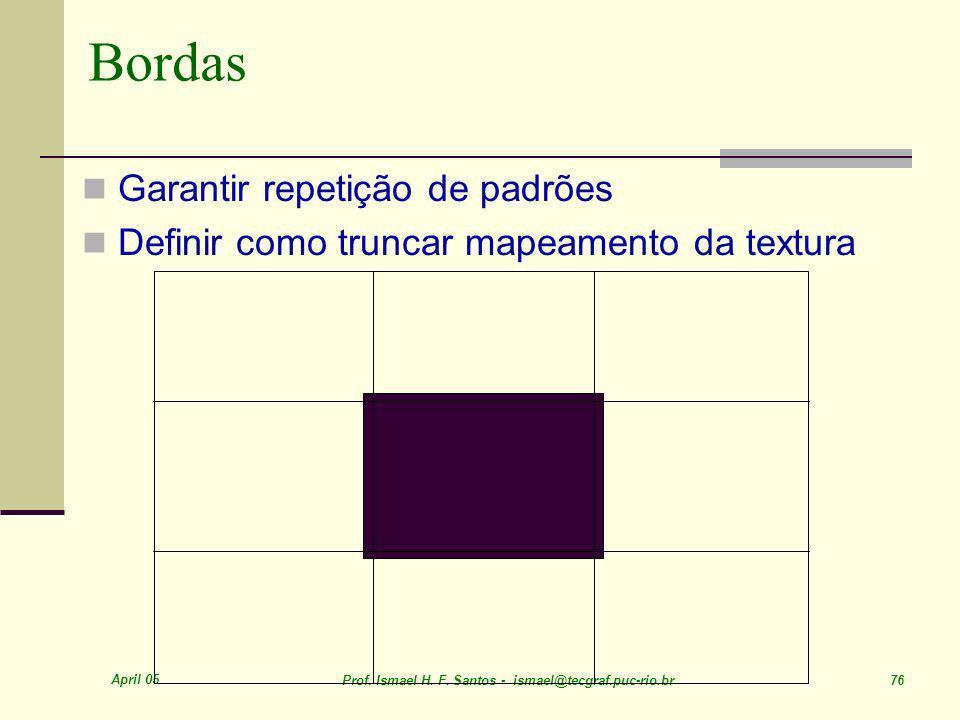 Bordas Garantir repetição de padrões