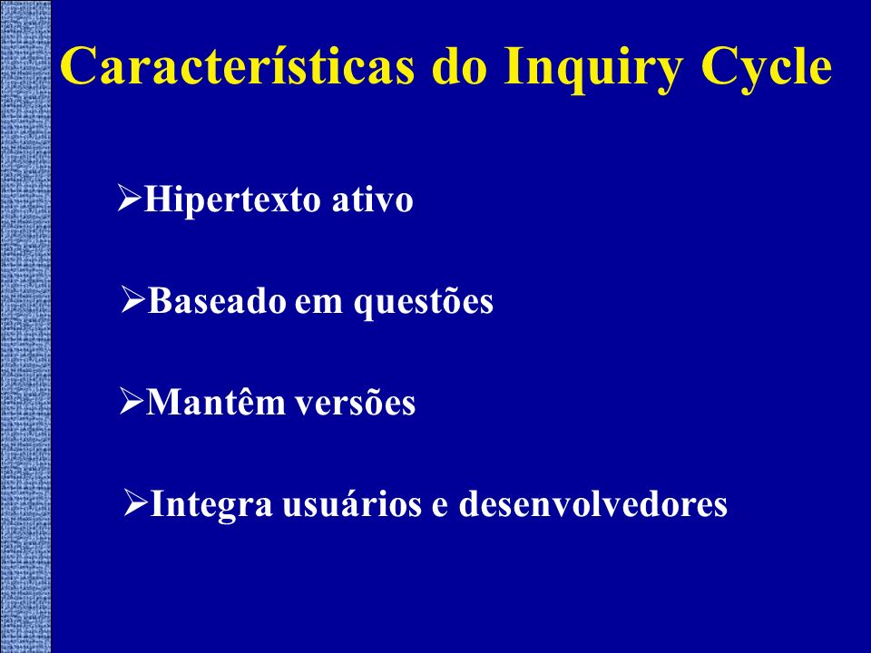 Características do Inquiry Cycle