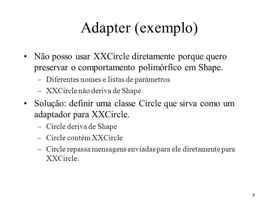 Adapter (exemplo) Não posso usar XXCircle diretamente porque quero preservar o comportamento polimórfico em Shape.