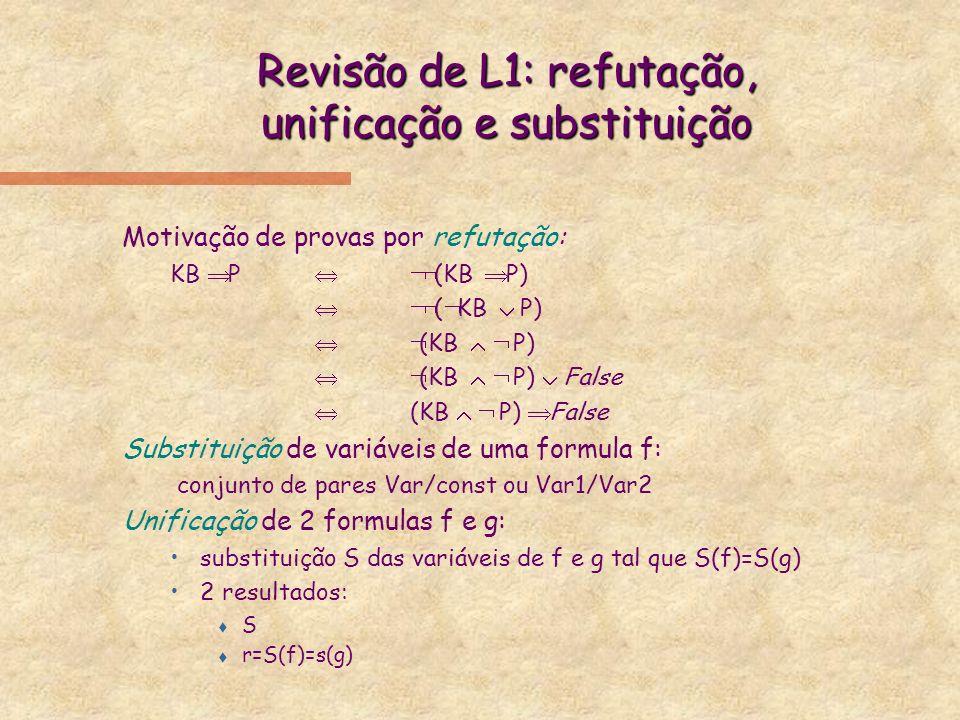 Revisão de L1: refutação, unificação e substituição