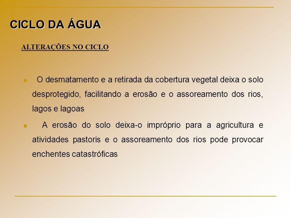 CICLO DA ÁGUA ALTERAÇÕES NO CICLO.