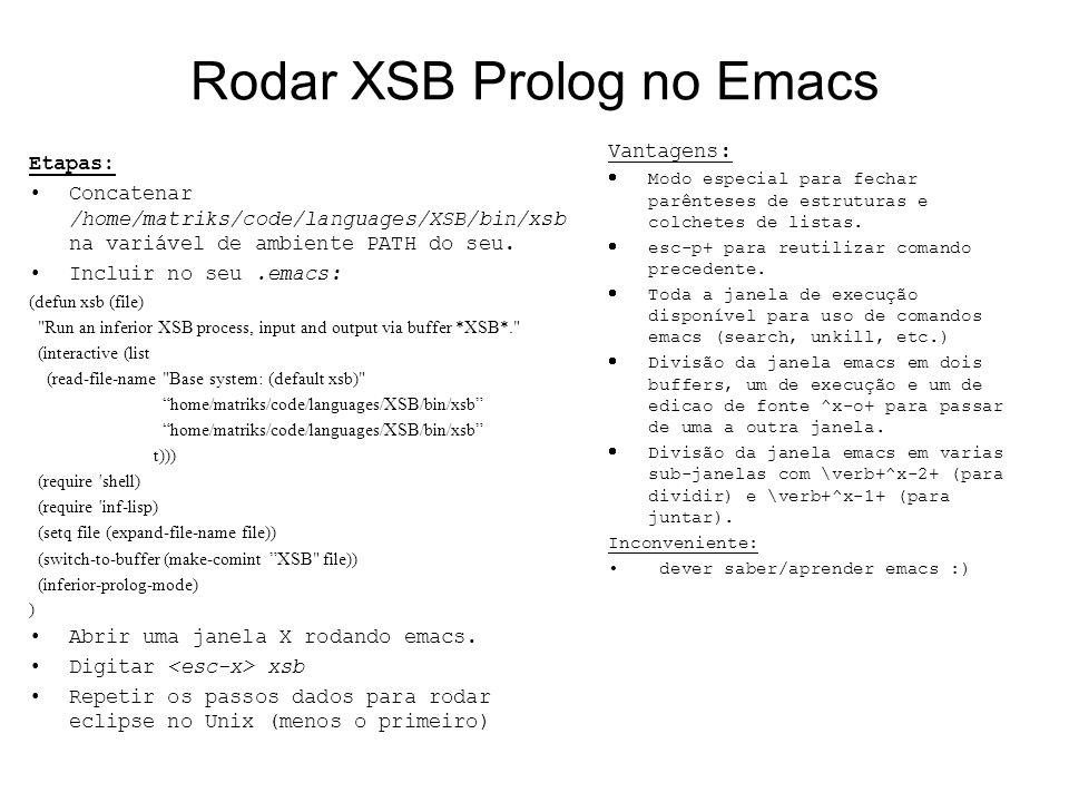 Rodar XSB Prolog no Emacs