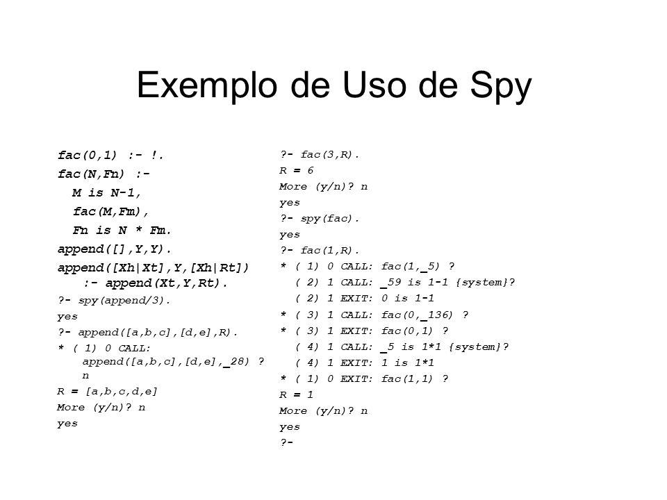 Exemplo de Uso de Spy fac(0,1) :- !. fac(N,Fn) :- M is N-1, fac(M,Fm),