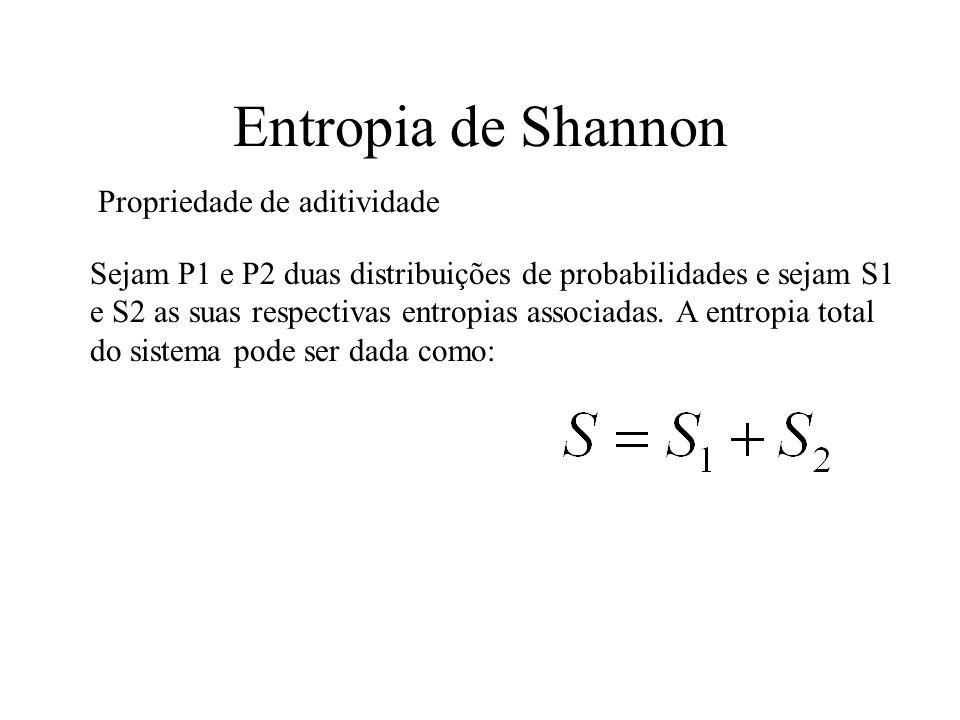 Entropia de Shannon Propriedade de aditividade