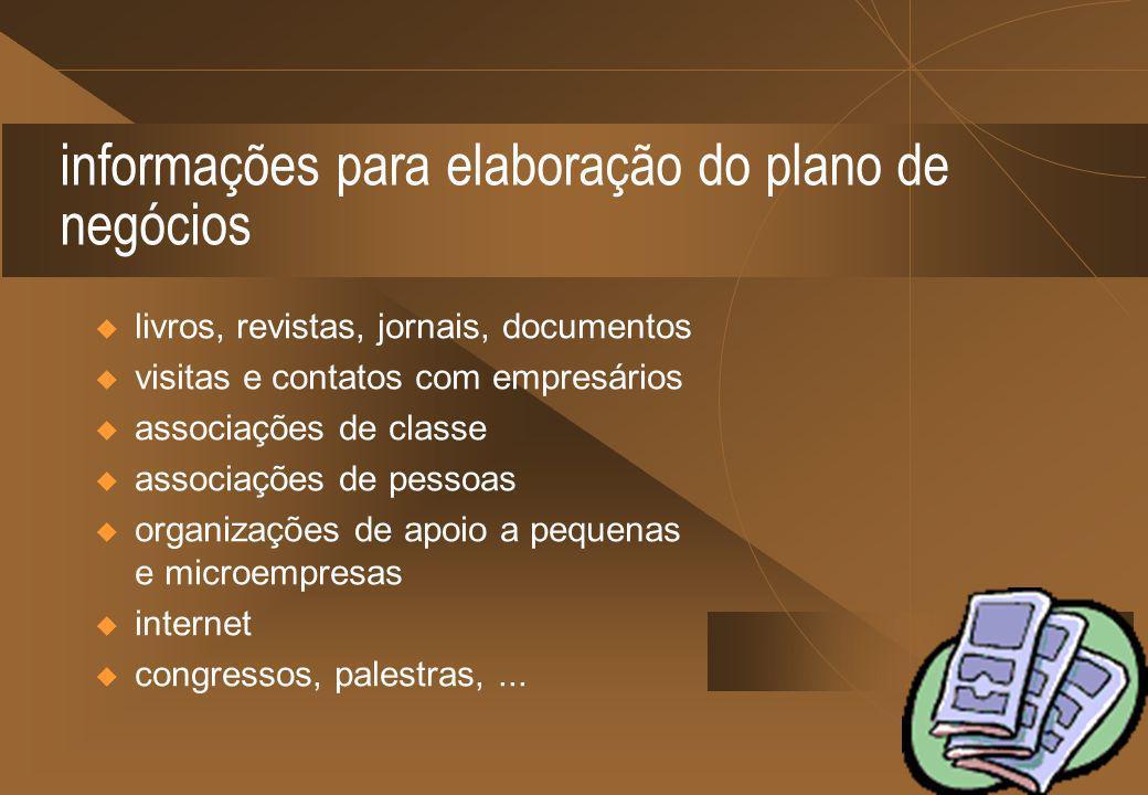 informações para elaboração do plano de negócios