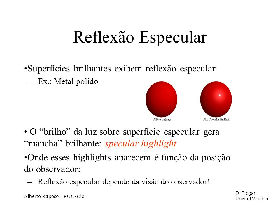 Reflexão Especular Superfícies brilhantes exibem reflexão especular