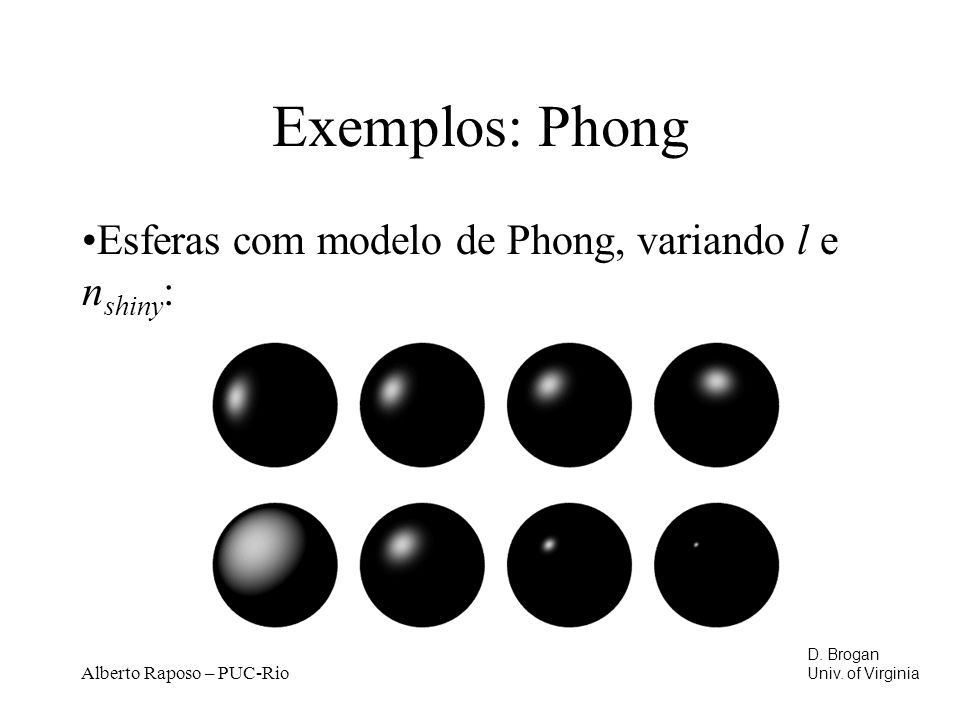 Exemplos: Phong Esferas com modelo de Phong, variando l e nshiny:
