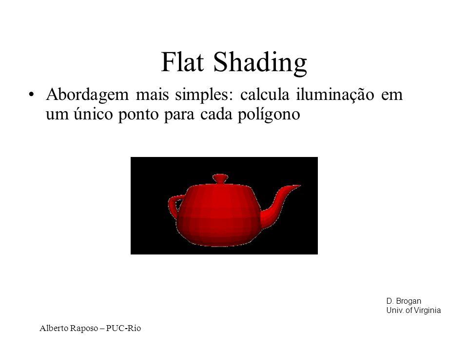 Flat Shading Abordagem mais simples: calcula iluminação em um único ponto para cada polígono. D. Brogan.