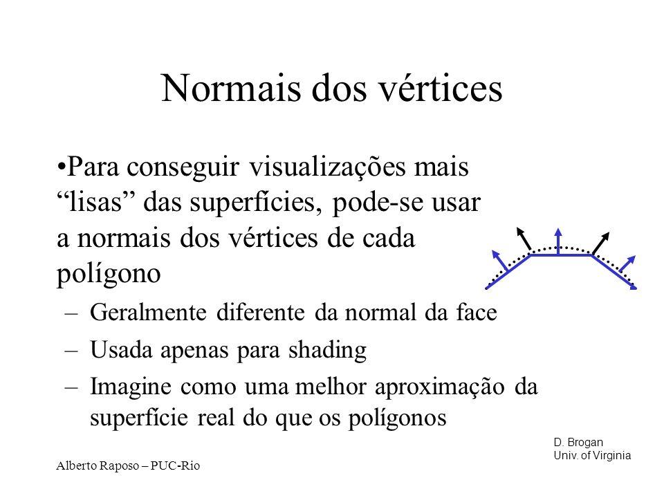 Normais dos vértices Para conseguir visualizações mais lisas das superfícies, pode-se usar a normais dos vértices de cada polígono.