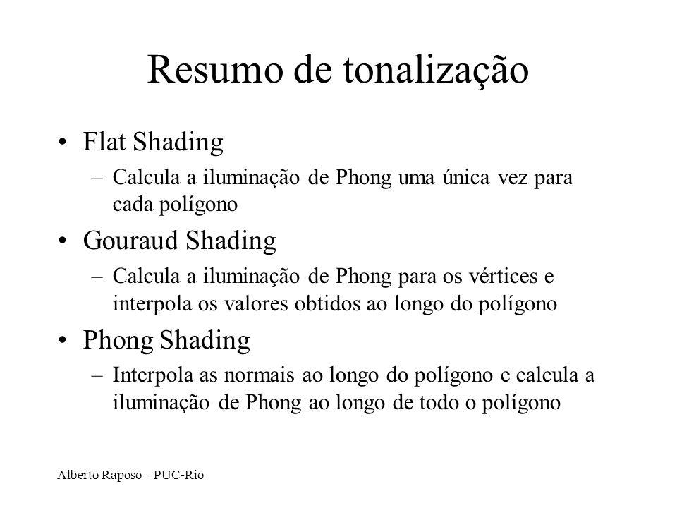 Resumo de tonalização Flat Shading Gouraud Shading Phong Shading