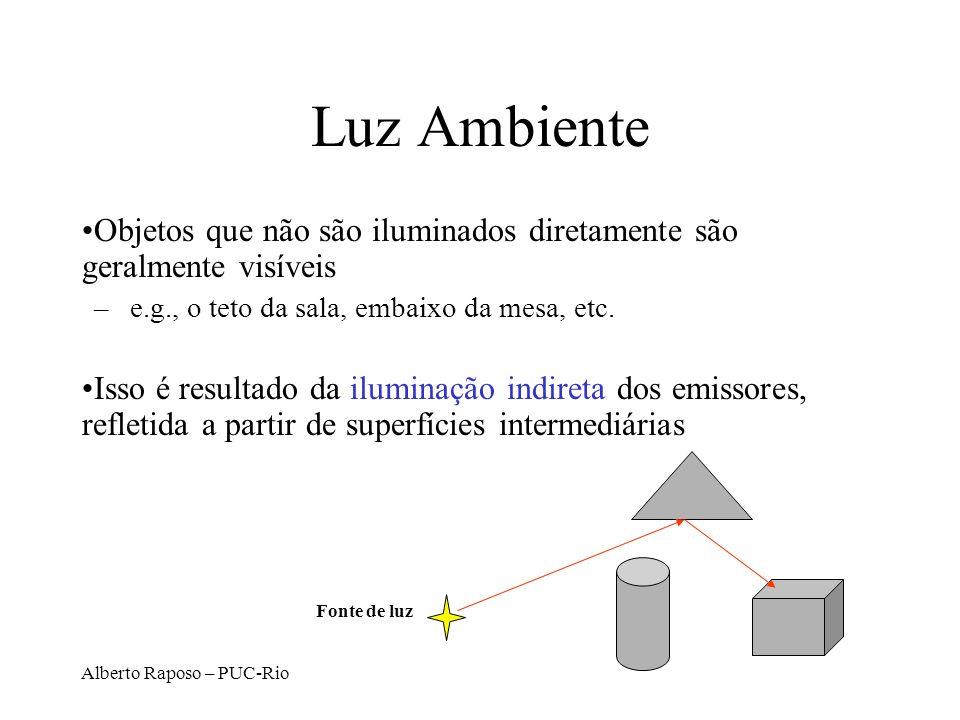 Luz Ambiente Objetos que não são iluminados diretamente são geralmente visíveis. e.g., o teto da sala, embaixo da mesa, etc.