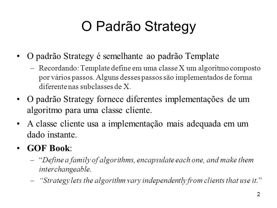 O Padrão Strategy O padrão Strategy é semelhante ao padrão Template