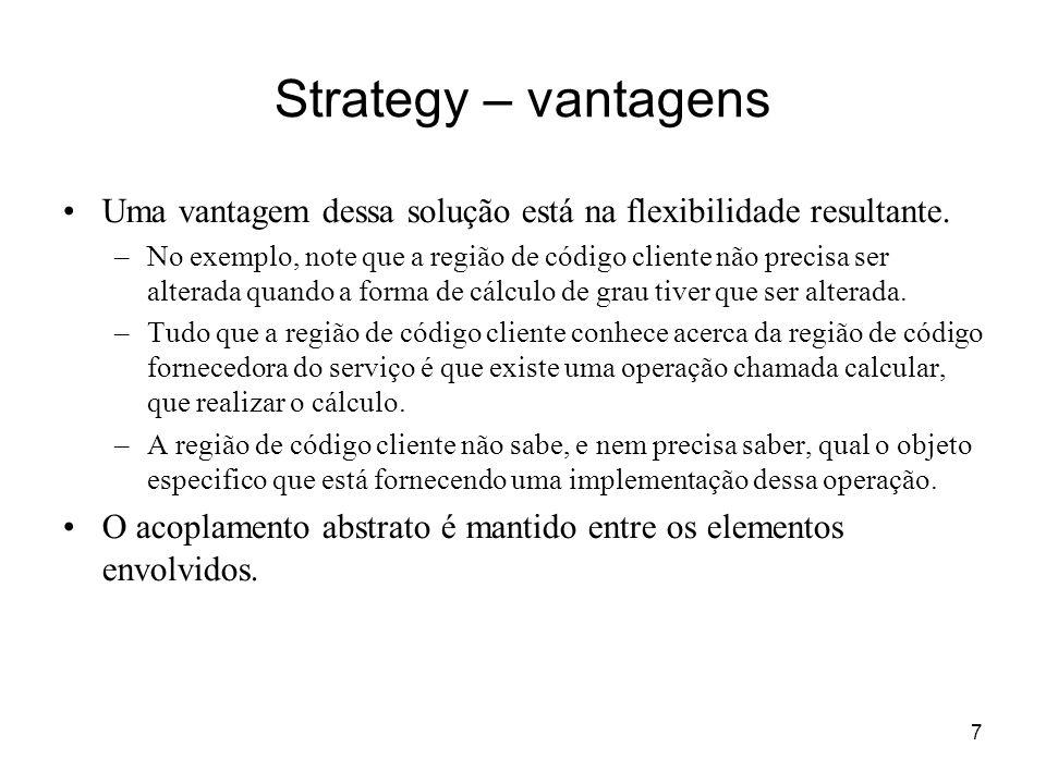Strategy – vantagens Uma vantagem dessa solução está na flexibilidade resultante.