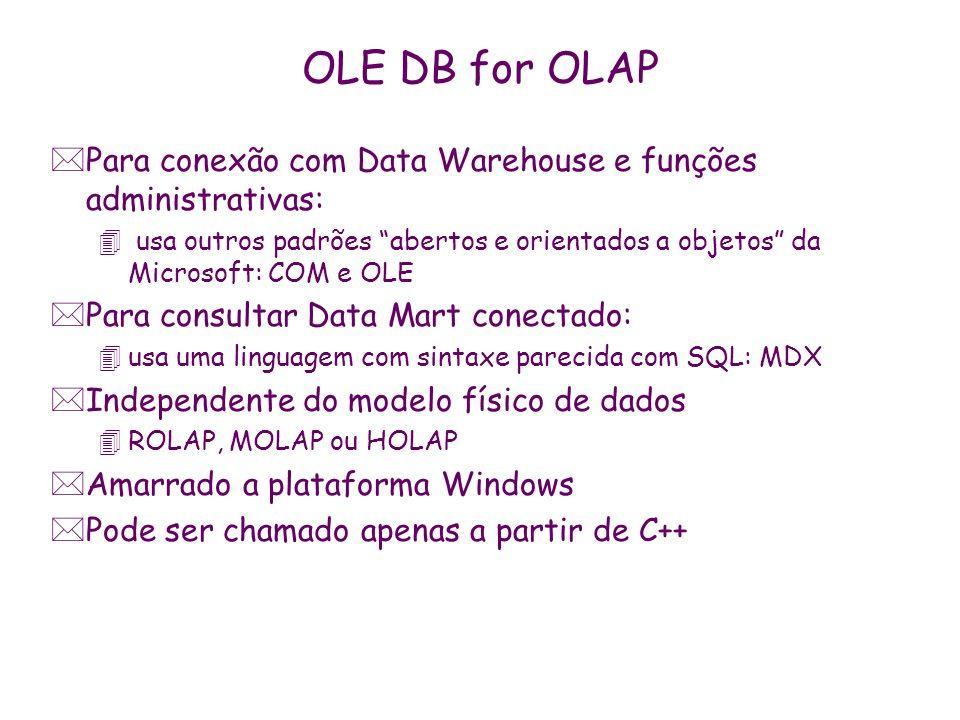 OLE DB for OLAP Para conexão com Data Warehouse e funções administrativas: