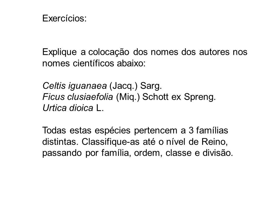 Exercícios: Explique a colocação dos nomes dos autores nos nomes científicos abaixo: Celtis iguanaea (Jacq.) Sarg.