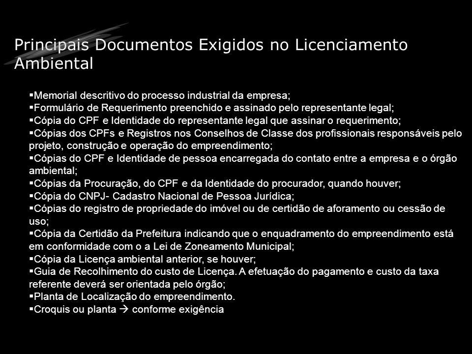 Principais Documentos Exigidos no Licenciamento Ambiental