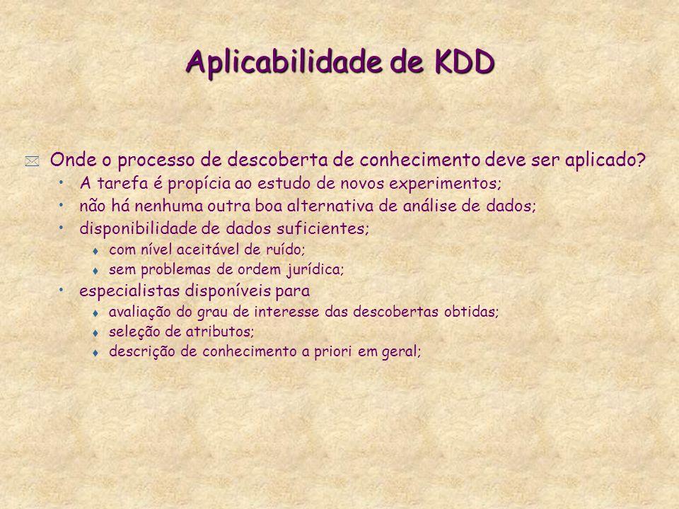 Aplicabilidade de KDD Onde o processo de descoberta de conhecimento deve ser aplicado A tarefa é propícia ao estudo de novos experimentos;