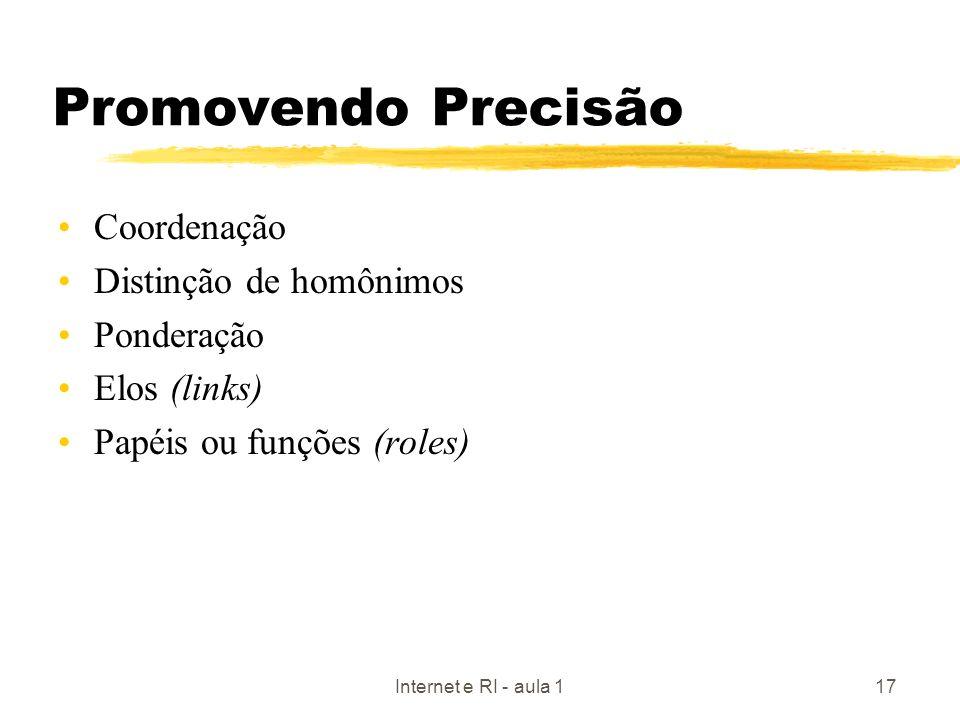 Promovendo Precisão Coordenação Distinção de homônimos Ponderação
