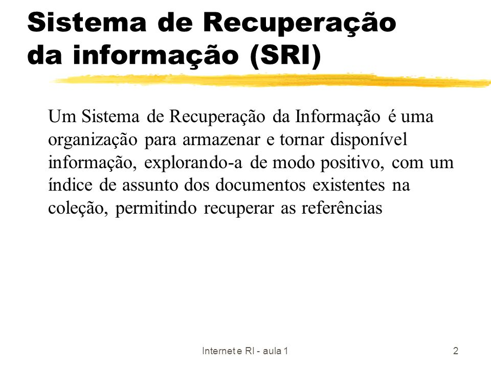 Sistema de Recuperação da informação (SRI)