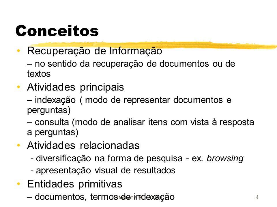 Conceitos Recuperação de Informação Atividades principais
